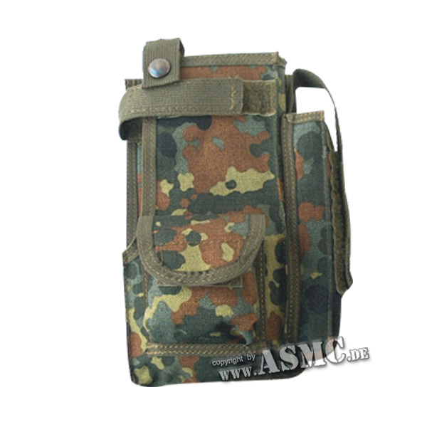 German Military Radio Pouch with Outside Pocket, flecktarn