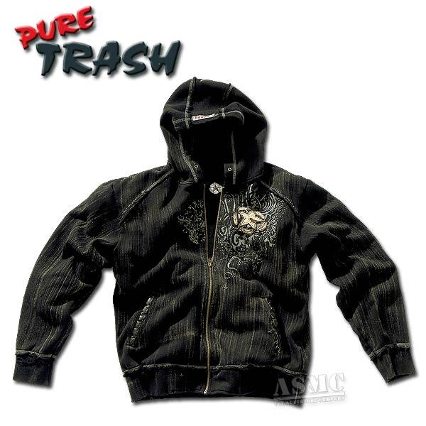 Pure Trash Zip-Hood Sweatshirt Vintage black
