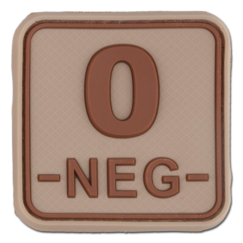 3D Bloodtype Patch 0 NEG desert square