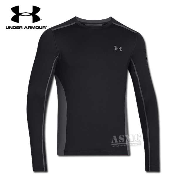 U/A Cold Gear Long Sleeve Armour Vent Crew black/gray