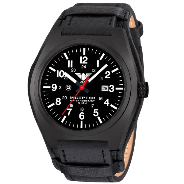 KHS Wrist Watch Inceptor Black Steel Leather Band G-Pad