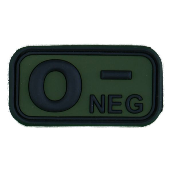 3D Blood Type Patch 0 Neg black/olive