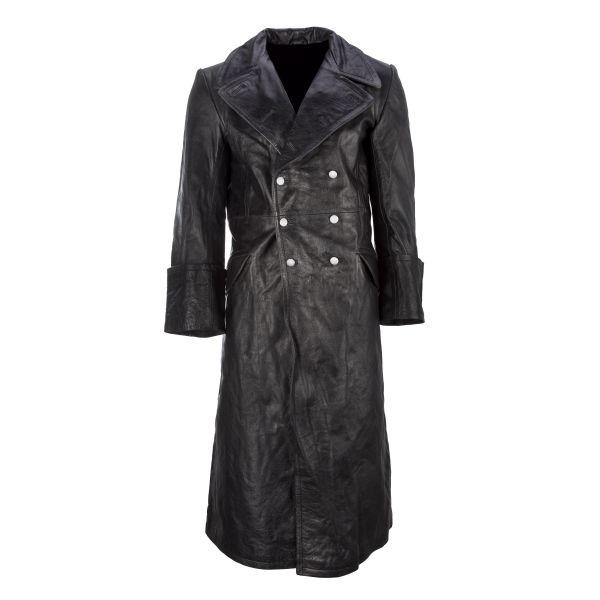 Leather Overcoat Officer black