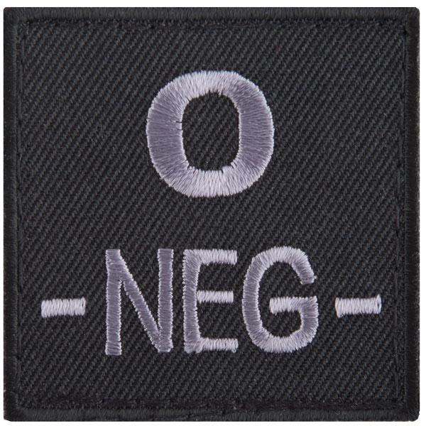 T.O.E Blood Group Patch 0 Neg. black