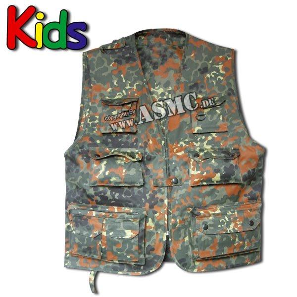 Fishing & hunting vest kids flecktarn