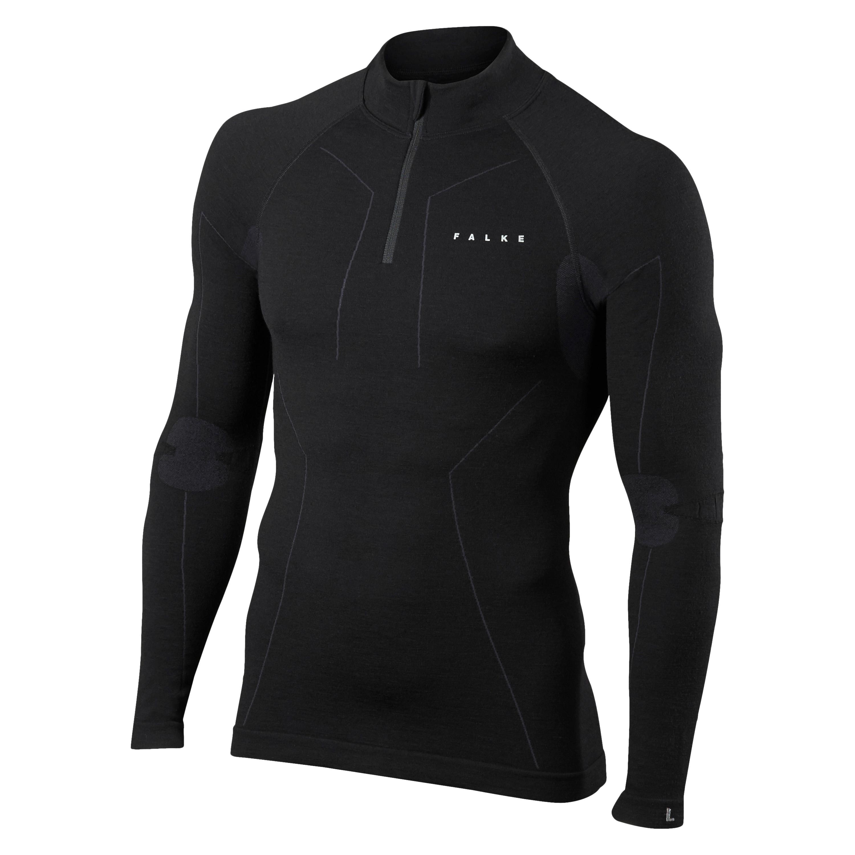 FALKE Zip LS Shirt Merino Comfort black