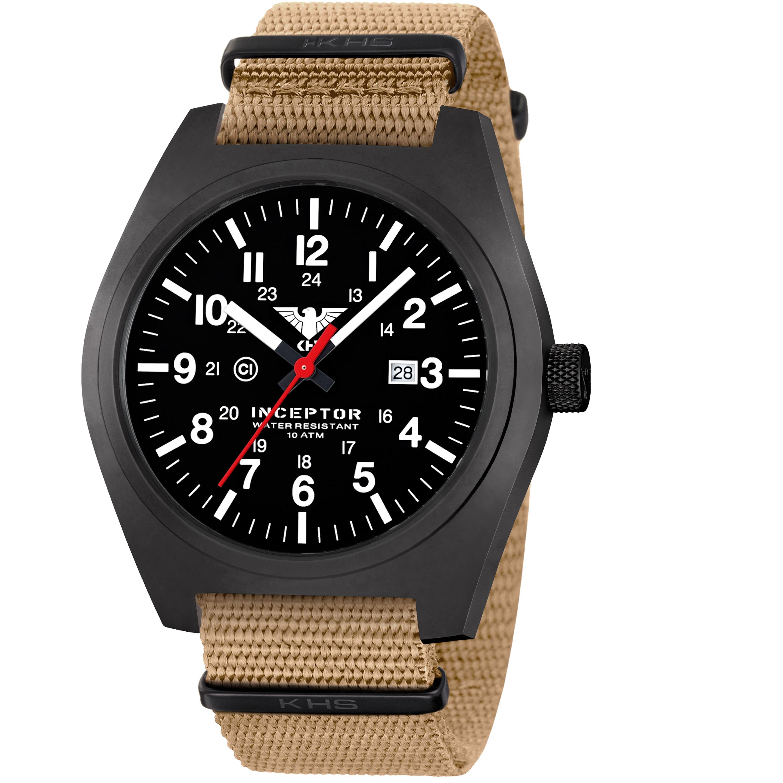 KHS Wrist Watch Inceptor Black Steel Nato Band tan
