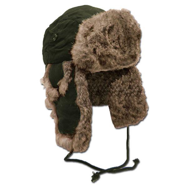 Fur Hat with Rabbit Fur olive