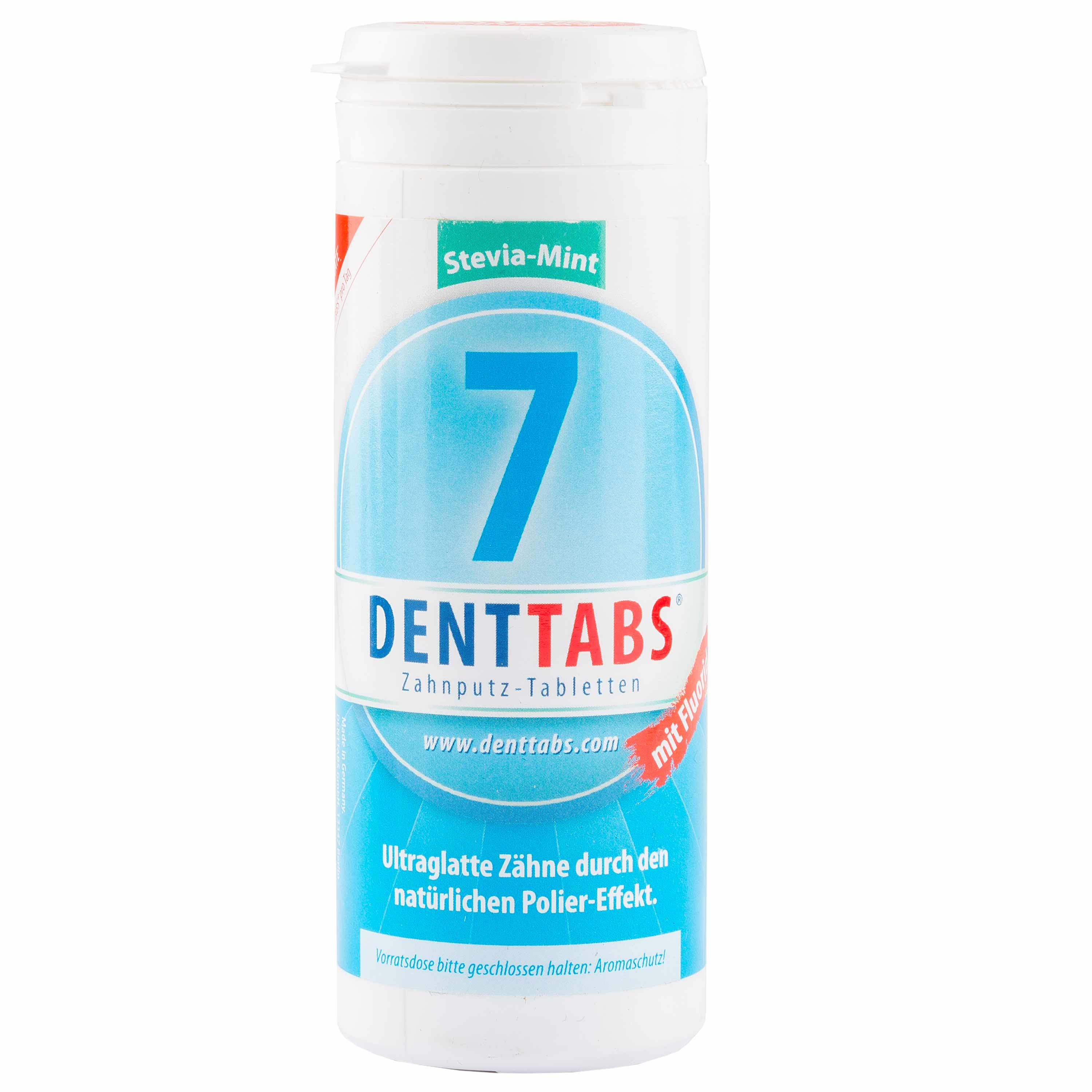 DENTTABS Tooth Cleaning Tablets Stevia-Mint Fluoride 380 Tablets