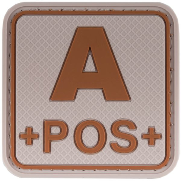 TAP 3D Blood Type Patch Rubber A Pos Square desert