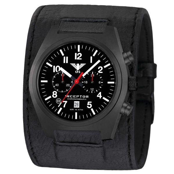 KHS Watch Inceptor Black Steel Chronograph Leather Strap black
