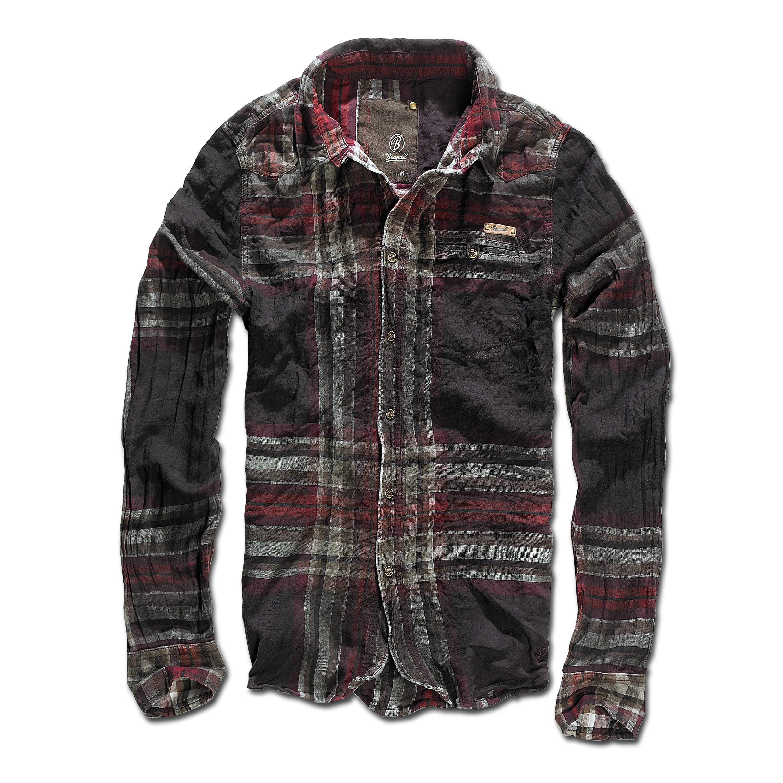 Brandit Raven Wire Checked Shirt choco-red