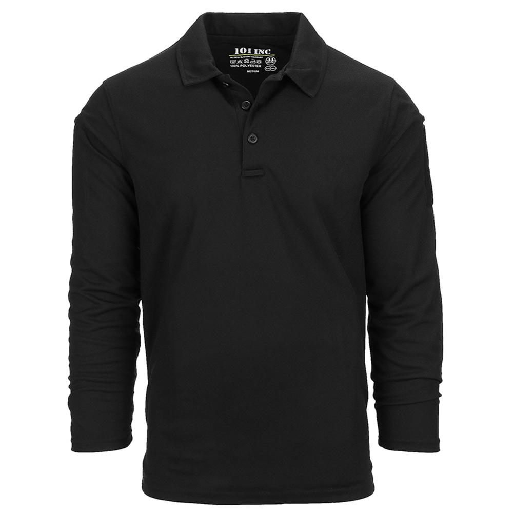 101 Inc. Long Sleeve Tactical Polo Quick Dry black