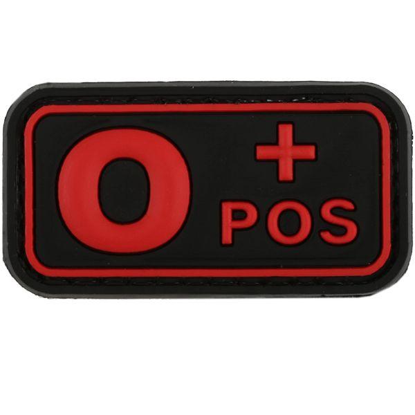 TAP 3D Blood Type Patch Rubber 0 Pos blackmedic