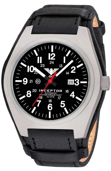 KHS Watch Inceptor Steel Automatic Leather Strap G-Pad black