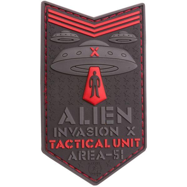 JTG 3D Patch Alien Invasion X File Tactical Unit red