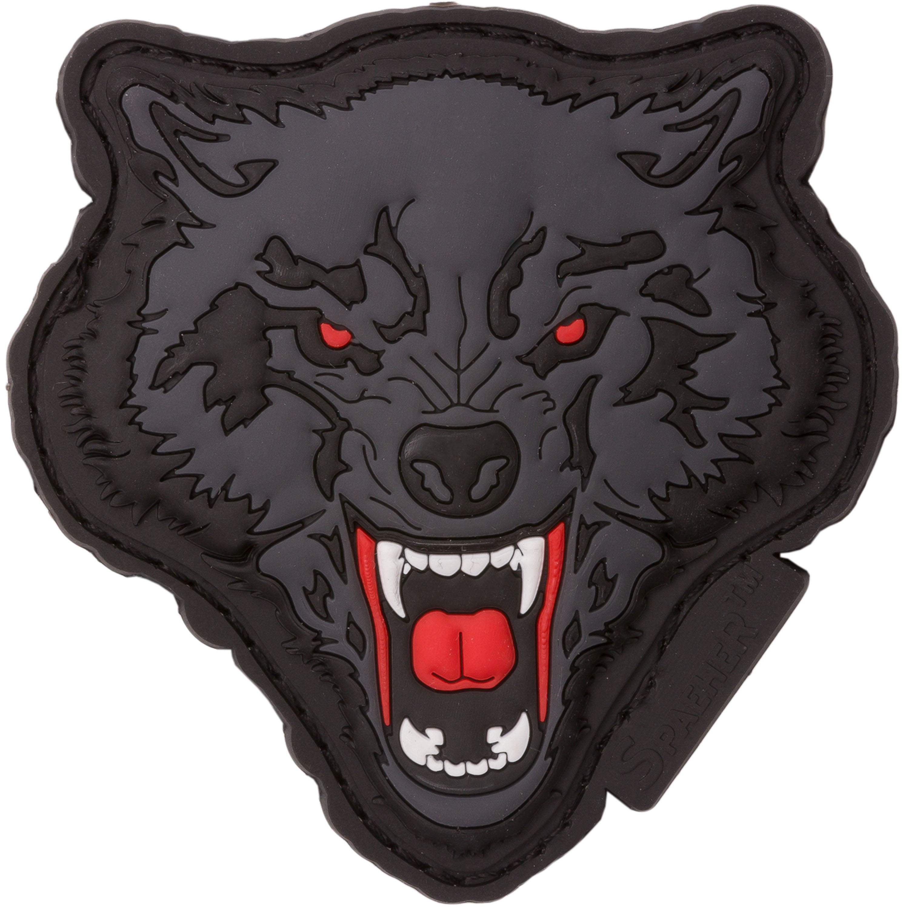 Jtg 3d Patch Angry Wolf Head Red Gray