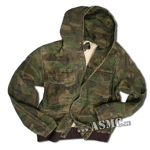 Hooded field jacket woodland