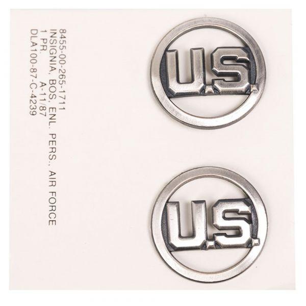 US Collar Insignia Air Force EM silver