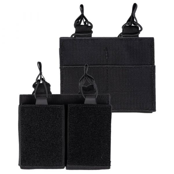 Mil-Tec Double Mag Pouch with Velcro Backing black