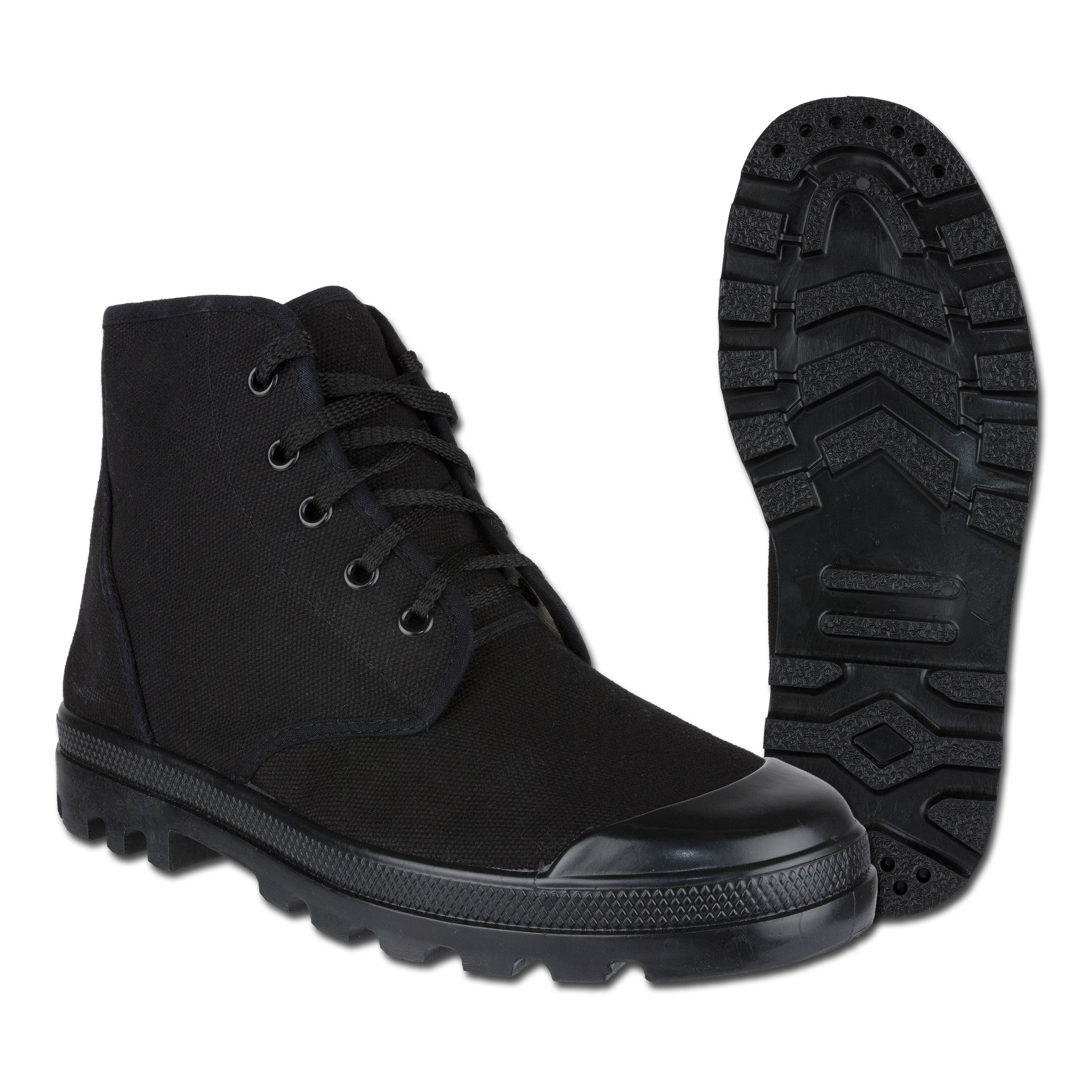 French Canvas Commando Boots 5- hole black