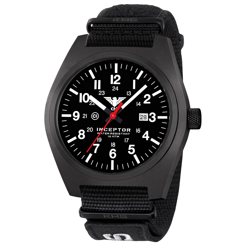 KHS Wrist Watch Inceptor Black Steel XTAC Nato Band black
