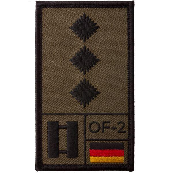 Café Viereck Rank Patch Hauptmann/Captain/OF-2 olive