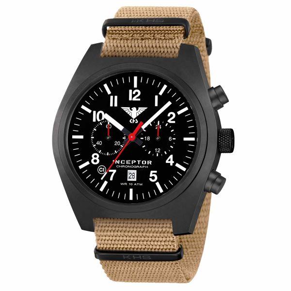 KHS Watch Inceptor Black Steel Chronograph Nato Strap tan