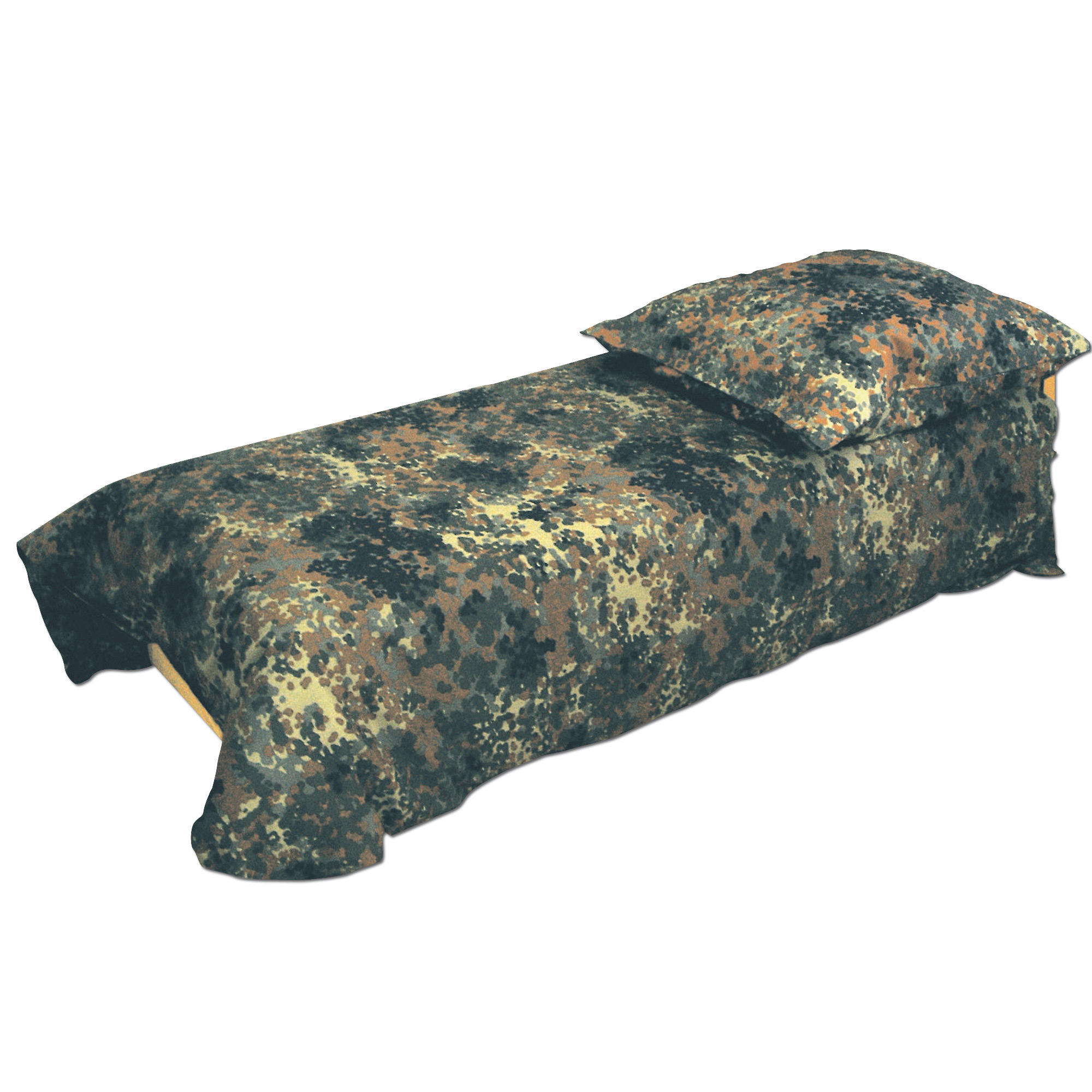 Bed cover and pillow flecktarn