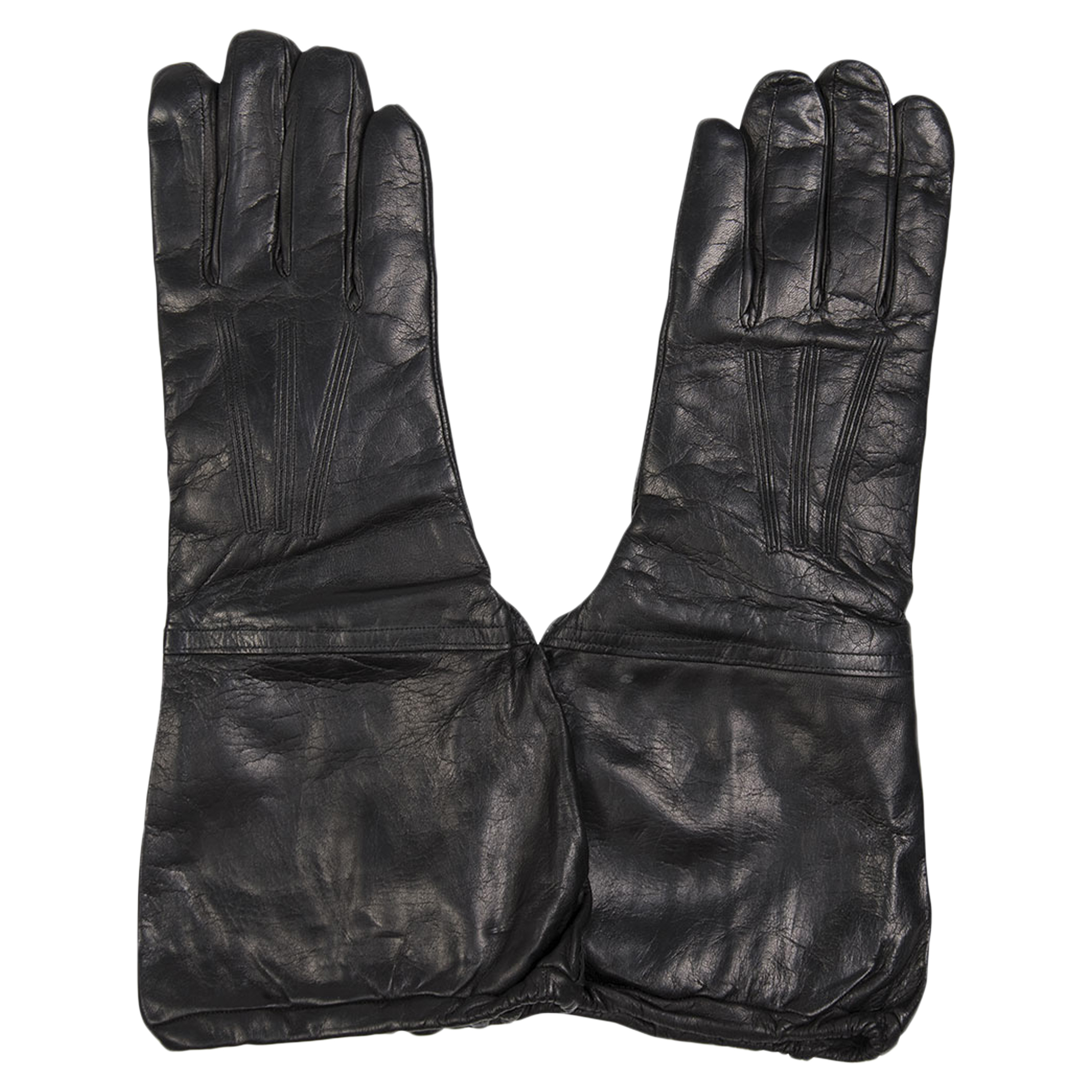 Italian Leather Gloves with Cuffs Like New black