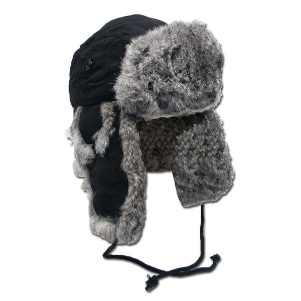 Fur Hat with Rabbit Fur black