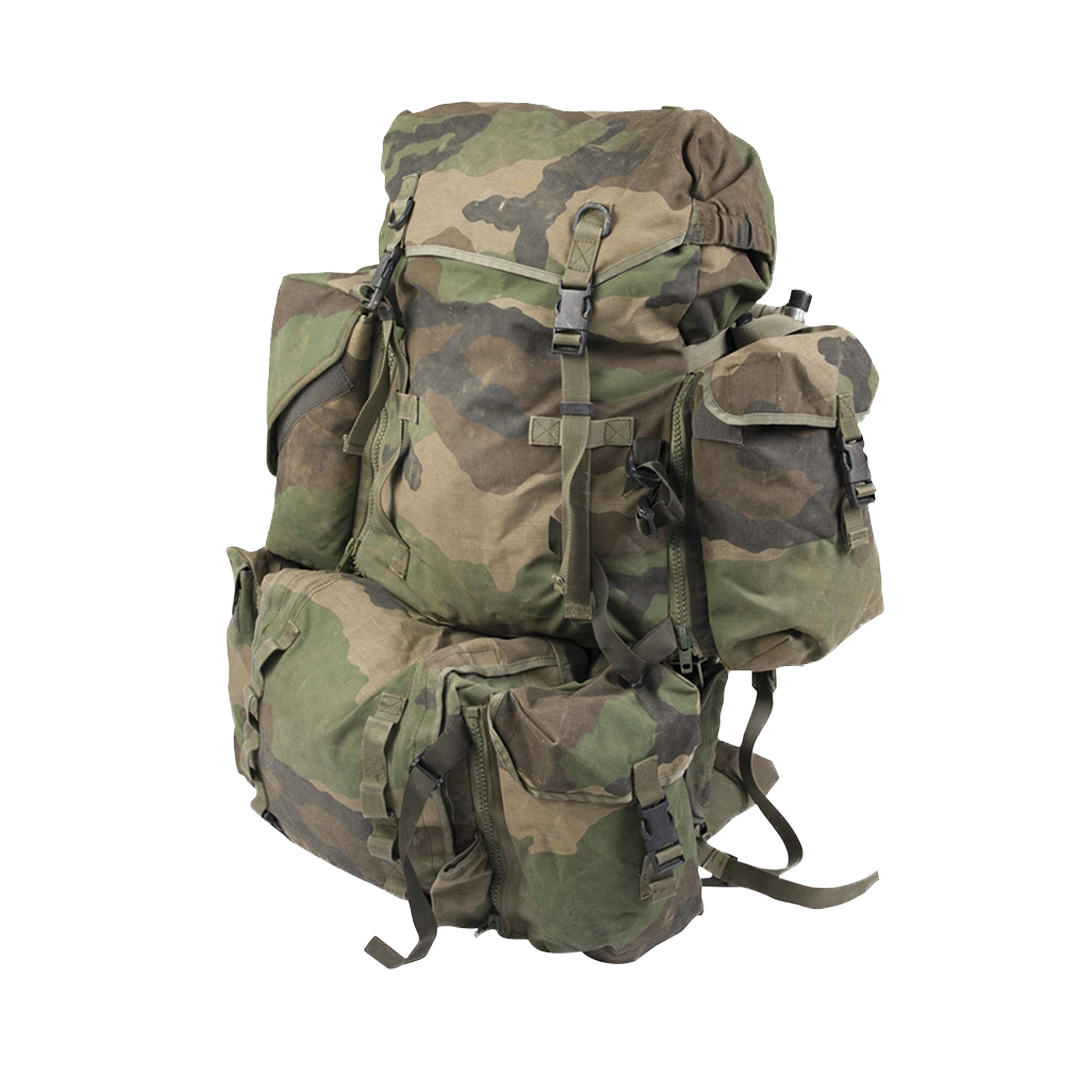 French Backpack with Carrier System Camo Used