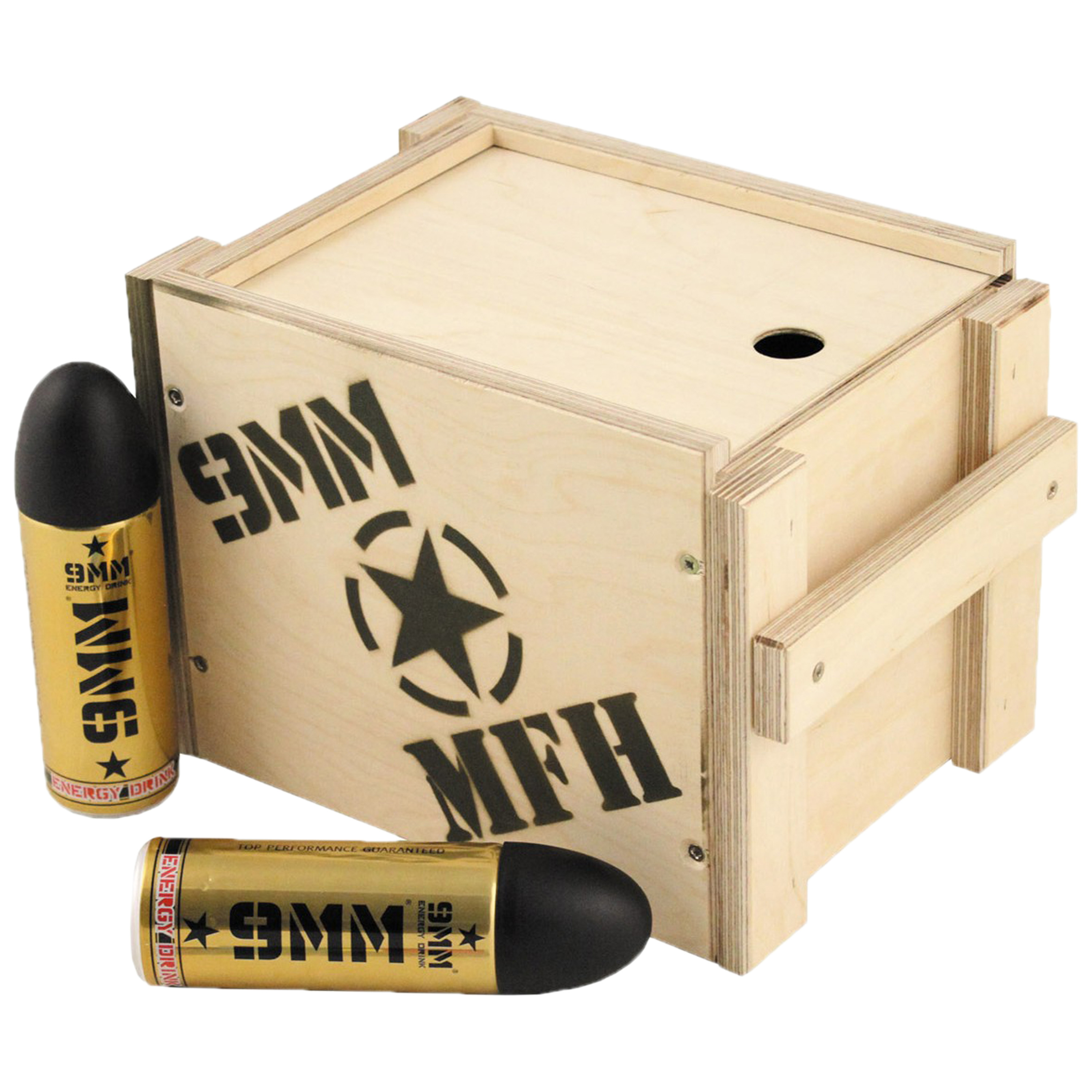 Energy Drink 9mm Wooden Box with Lid Large 12-Pack
