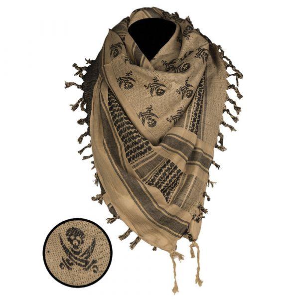 Mil-Tec Shemagh Skull 110x110 cm coyote/black