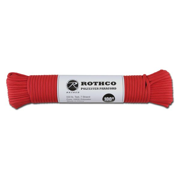Paracord 550 lb red 100 ft. Polyester