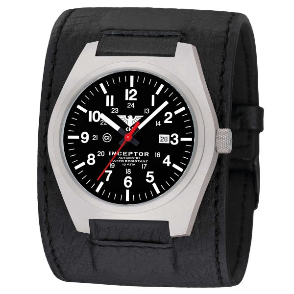 KHS Watch Inceptor Steel Automatic Leather Strap black