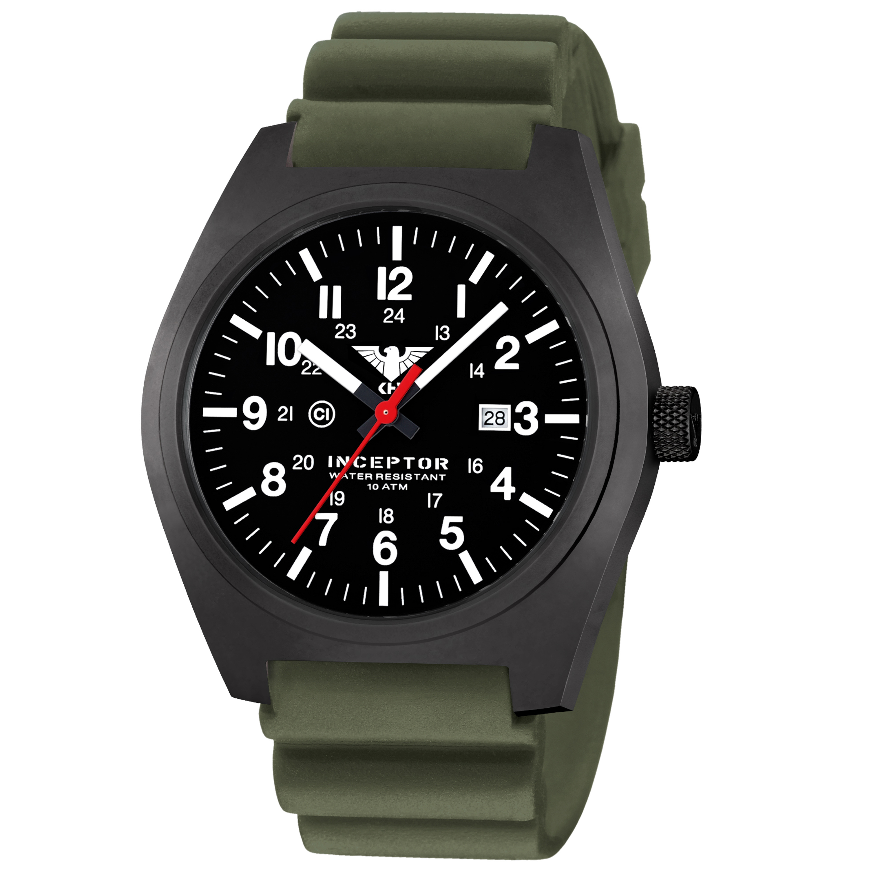 KHS Wrist Watch Inceptor Black Steel Diver Band olive