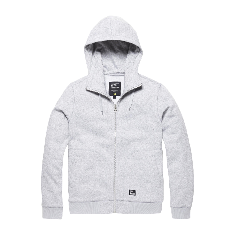 Vintage Industries Zip Hooded Sweatshirt Irun light gray