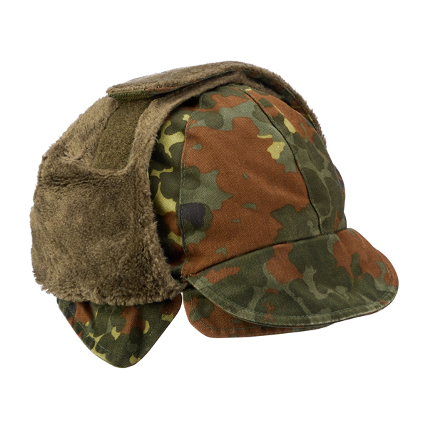 German Army Winter Pile Cap flecktarn used