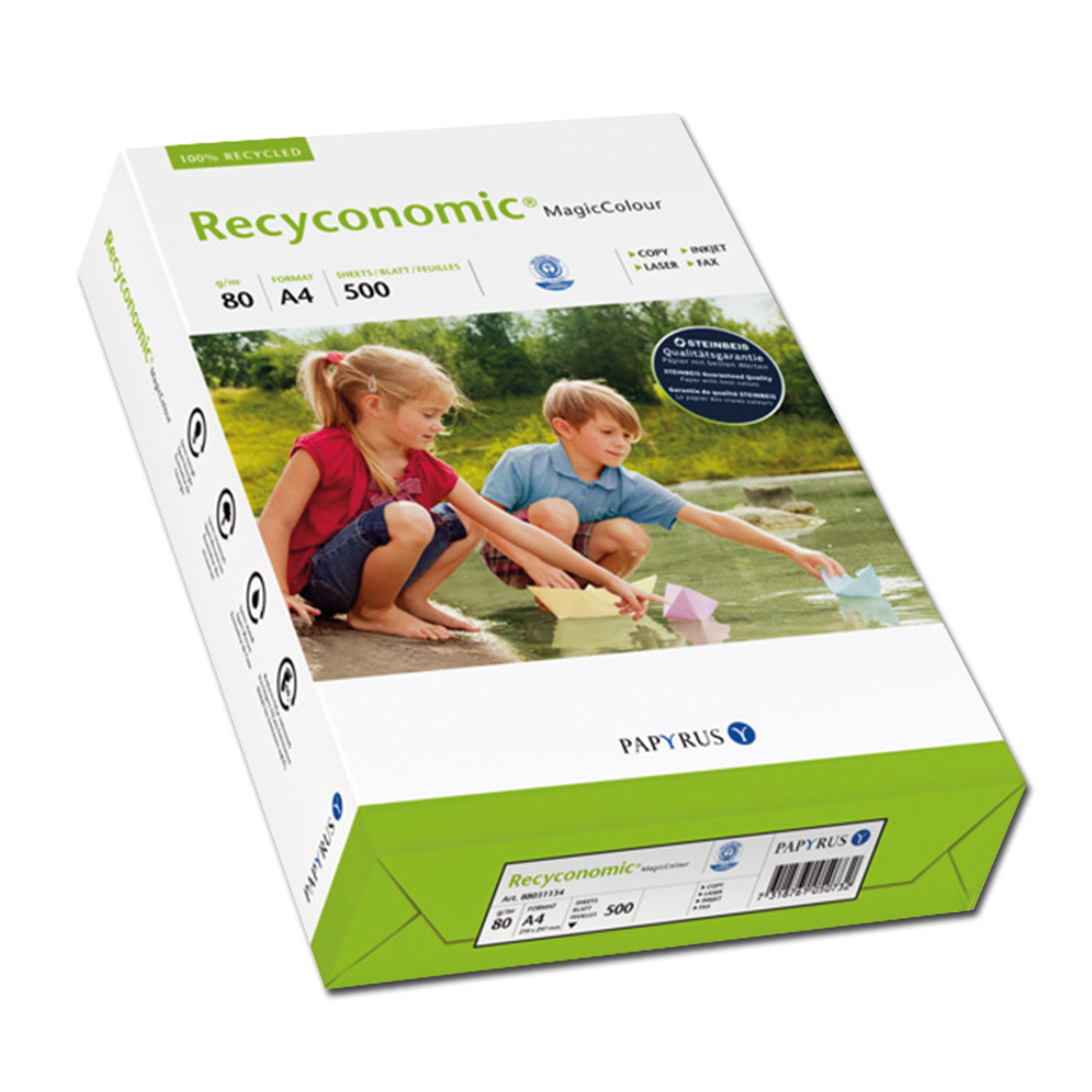 Color Recycled Paper A4 / 80 g/qm 500 Sheet blue