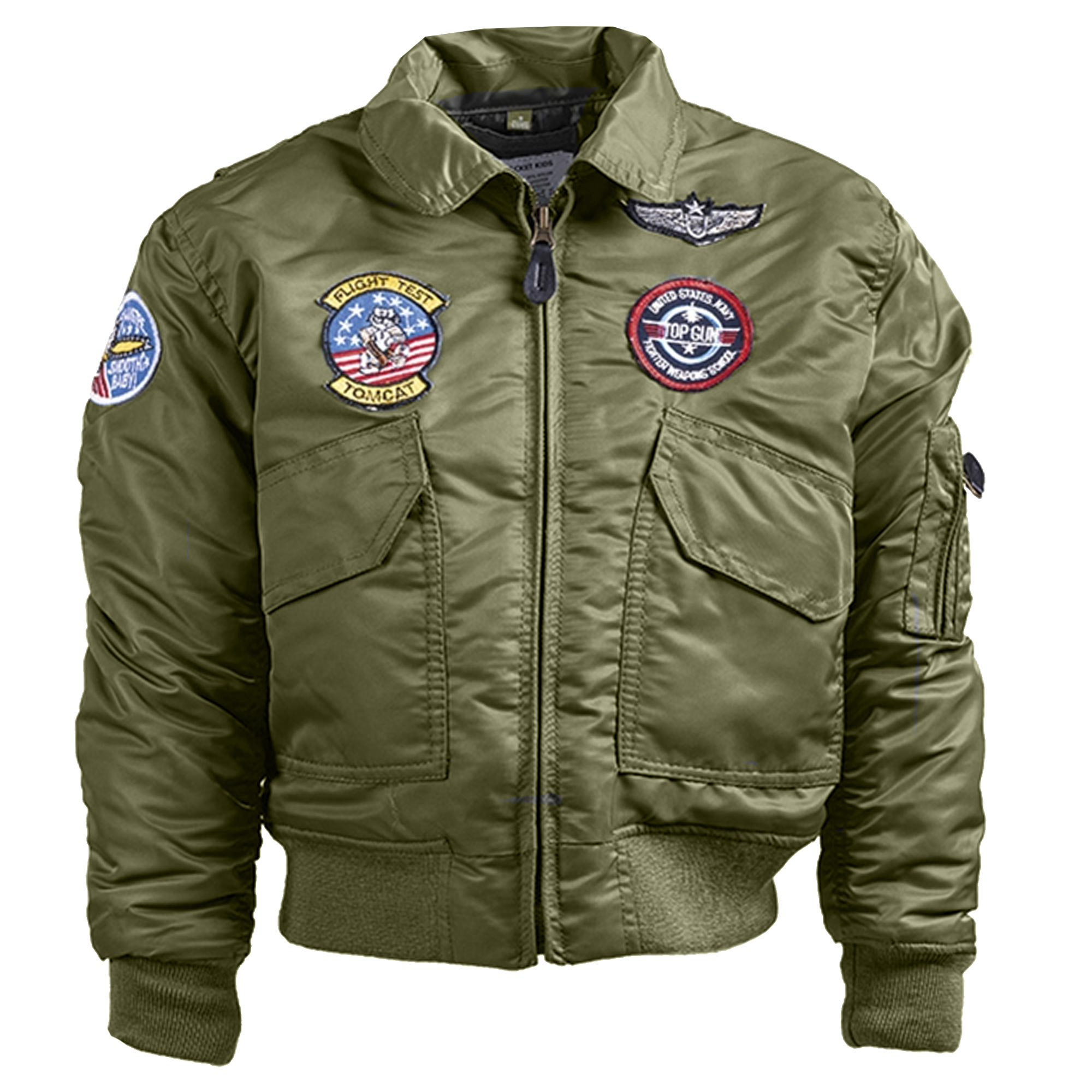 Kids Flight Jacket CWU with Patches olive