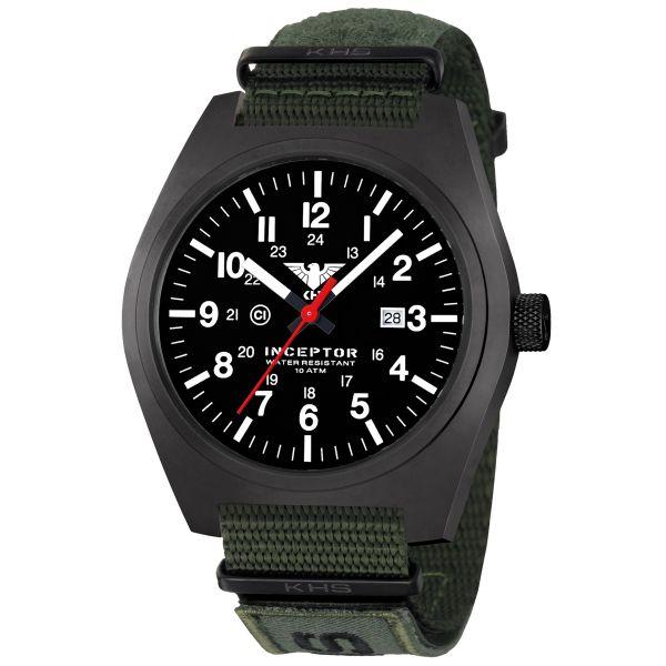 KHS Wrist Watch Inceptor Black Steel XTAC Nato Band olive