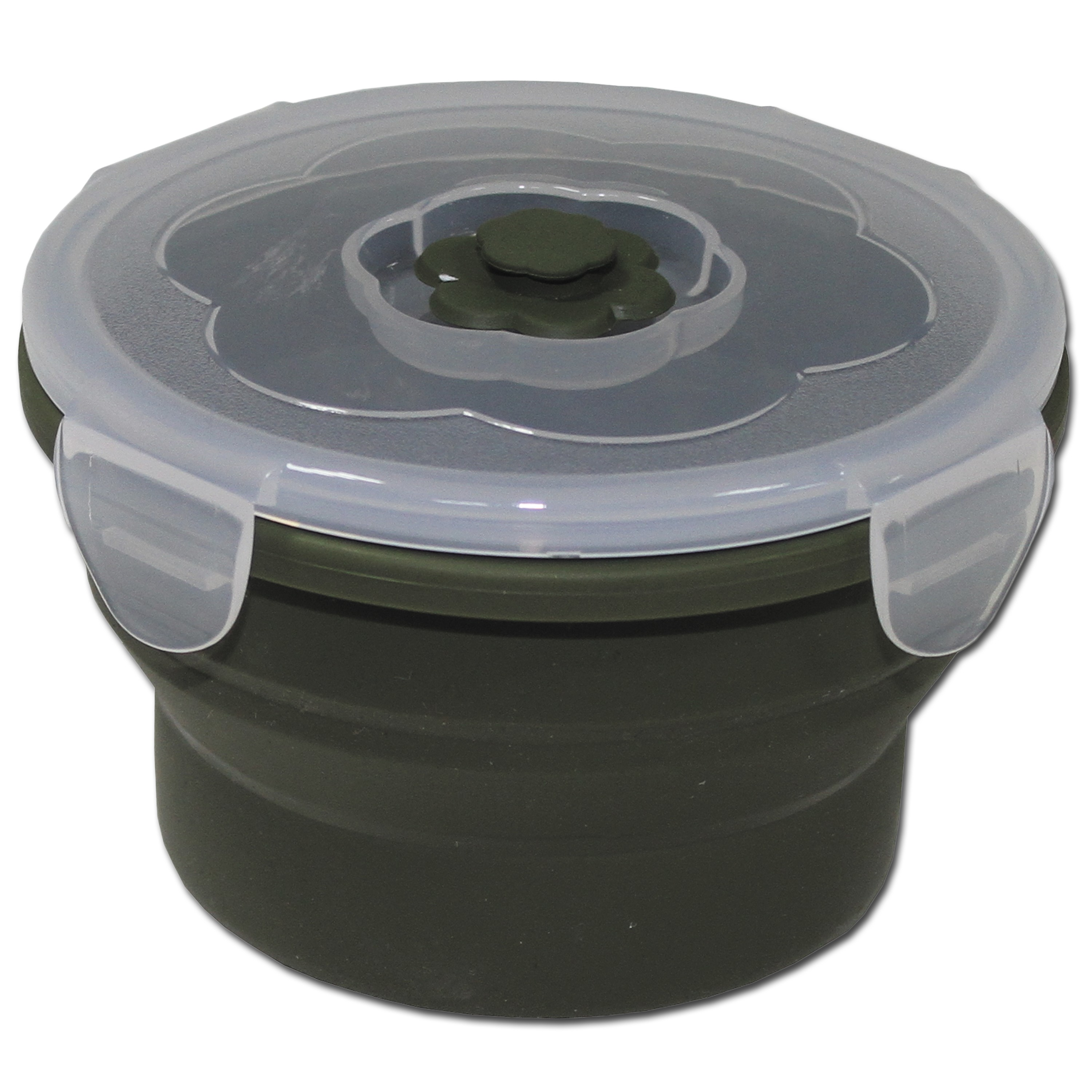 Food Container MFH, foldable 540 ml round olive