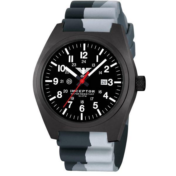 KHS Wrist Watch Inceptor Black Steel Diver Band camo gray