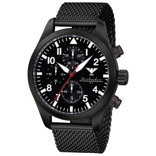 KHS Watch Airleader Black Steel Chronograph Mesh Band