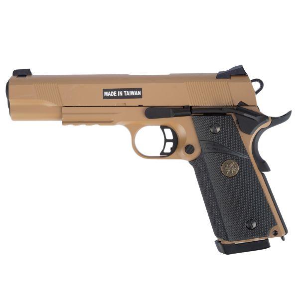 KJ Works Airsoft Pistol M1911 MEU Full Metal GBB tan